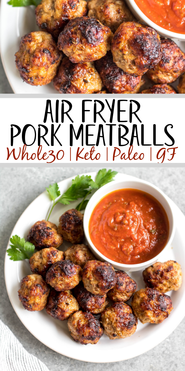 These easy ground pork meatballs are made in the air fryer, take under 20 minutes, and only need a few simple ingredients. No need to turn your oven on to get perfect, juicy and healthy meatballs! These air fryer meatballs are Whole30, paleo, keto (low carb), and gluten-free. They're ideal for a quick weeknight dinner, and work great for a meal prep recipe because they reheat so well, too! #airfryerrecipes #airfryermeatballs #whole30meatballs #porkrecipes #whole30 #keto