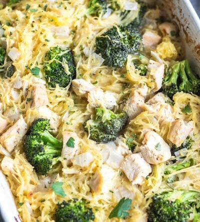 Chicken Alfredo Spaghetti Squash Casserole: Whole30, Paleo, Low Carb, GF