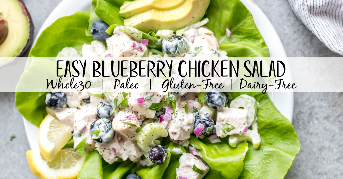 This easy blueberry chicken salad is an easy, healthy salad recipe that's perfect for meal prep lunches or as a way to use leftover chicken. It's Whole30, Paleo, dairy-free and only uses a few simple ingredients. It's great as leftovers, or simple to throw together for gatherings. Made with celery, mayo, pecans and red onion, this Whole30 salad comes together in under 30 minutes! #whole30chickenrecipes #whole30chickensalad #blueberryrecipes #lowcarb #paleochicken