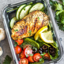 Grilled Greek Chicken Bowls: Whole30, Paleo, Low Carb, GF