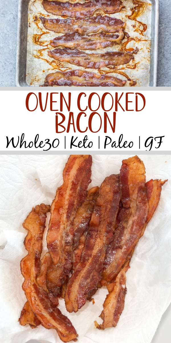 Baking your bacon in the oven is the easy, mess free and best way to do it! Once you try oven cooked bacon you won't go back to pan frying. With this method you can also control how crispy your bacon is too, so it comes out to your perfect bacon texture preference every time! #ovencookedbacon #baconrecipes #porkrecipes #whole30bacon