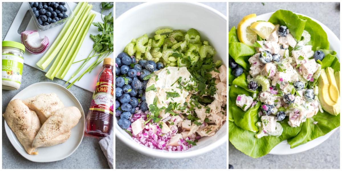 process of preparing blueberry chicken salad