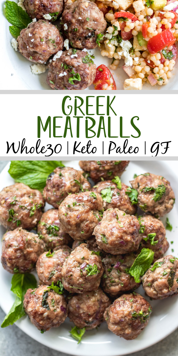 These easy greek meatballs are are a quick weeknight dinner or meal prep recipe that's Whole30, low carb, paleo and gluten-free. They freeze well, are simple to prepare and bake in the oven in under 30 minutes. Using ground beef, ground pork and only a few spices, these healthy meatballs are full of flavor and will be a family favorite! #whole30recipes #meatballrecipes #greekmeatballs #keto #paleo
