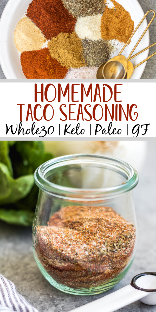 This homemade taco seasoning is an easy DIY way to keep a healthy, sugar-free taco spice mix on hand and ready when you need it. It's Whole30, paleo, low carb and gluten-free, which means anyone you're having taco night with will enjoy! This taco seasoning recipe is mild and family friendly, with the ability to spice it up if you want! Keep this in your pantry for a quick way to add flavor to ground beef, as a dry rub on grilled meat, in fajitas, casseroles and more! #homemadetacoseasoning #whole30tacoseasoning #whole30taco #ketotaco #tacorecipes #tacomeat