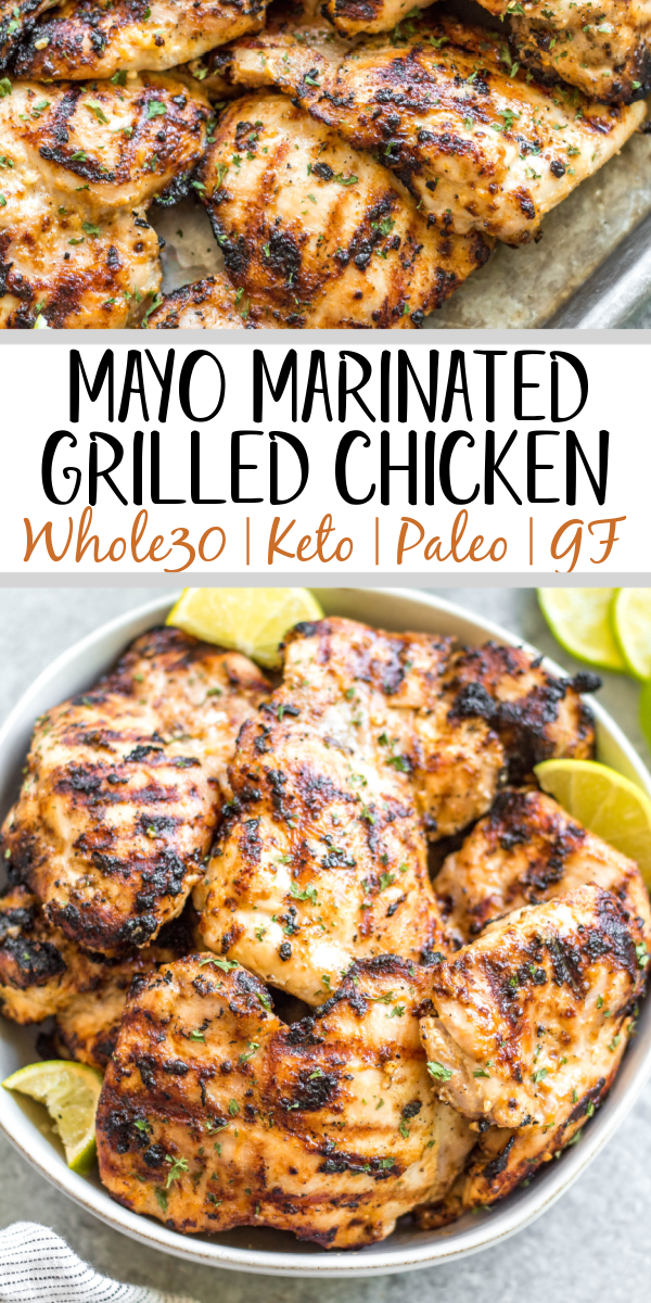 This easy mayo marinated grilled chicken thighs recipe is such a tasty way to grill an easy weeknight dinner or use for a meal prep recipe! This is the best mayo chicken marinade, and leaves the chicken so juicy and full of flavor. This is also a paleo, low carb, Whole30 chicken recipe so everyone in the family can enjoy it! With only a few simple ingredients and under 20 minutes, this will be your new go-to way to grill thighs. #whole30grill #mayomarinade #mayochicken #chickenmarinade #ketochicken