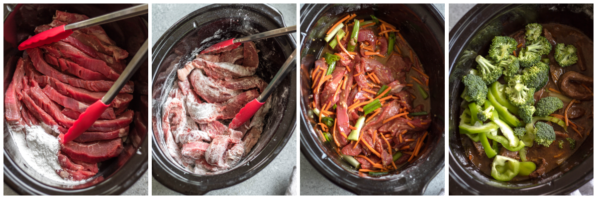 slow cooker mongolian beef cooking process
