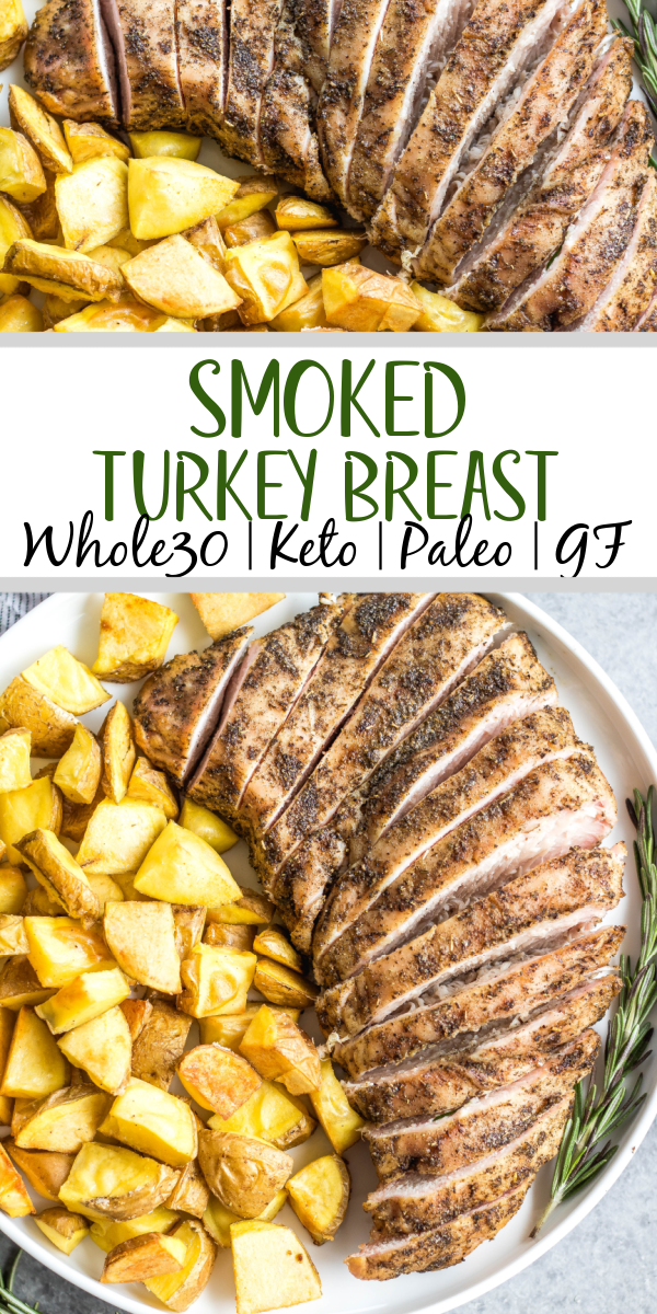 This healthy smoked boneless turkey breast recipe is so easy, needs only a few ingredients, and is a great lean protein that's also Whole30, paleo, gluten-free and low carb/keto. It's perfect for a family friendly weeknight dinner or great for meal prepping. Pair it with a few vegetable sides or use it in a salad, you can't go wrong with this smoker turkey recipe! #whole30turkey #lowcarbturkey #smokedturkey #smokerrecipes #thanksgiving #healthyturkeyrecipes #keto