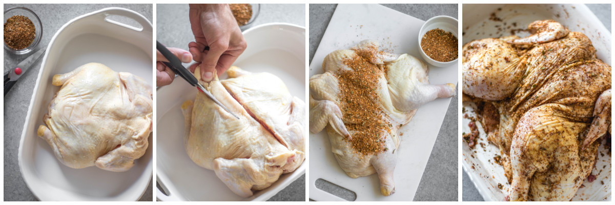 smoked butterfly chicken cooking process