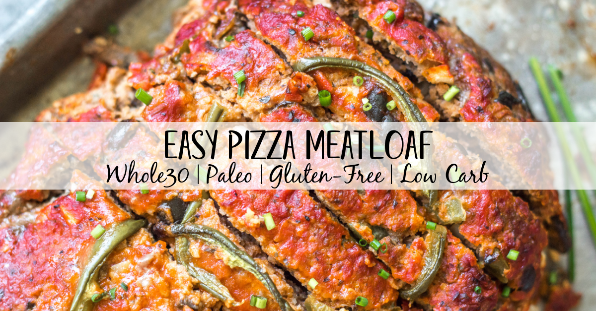 This easy pizza meatloaf recipe is a fun spin on a classic meatloaf. Using a mixture of ground beef and ground pork, and pizza sauce instead of the traditional ketchup, this Whole30 meatloaf recipe is a family-friendly option that's great for meal prep or a simple weeknight dinner. It's also paleo, gluten-free, low carb and freezer friendly. #whole30meatloaf #paleomeatloaf #ketomeatloaf #weeknightdinner #healthyrecipes #whole30groundbeef