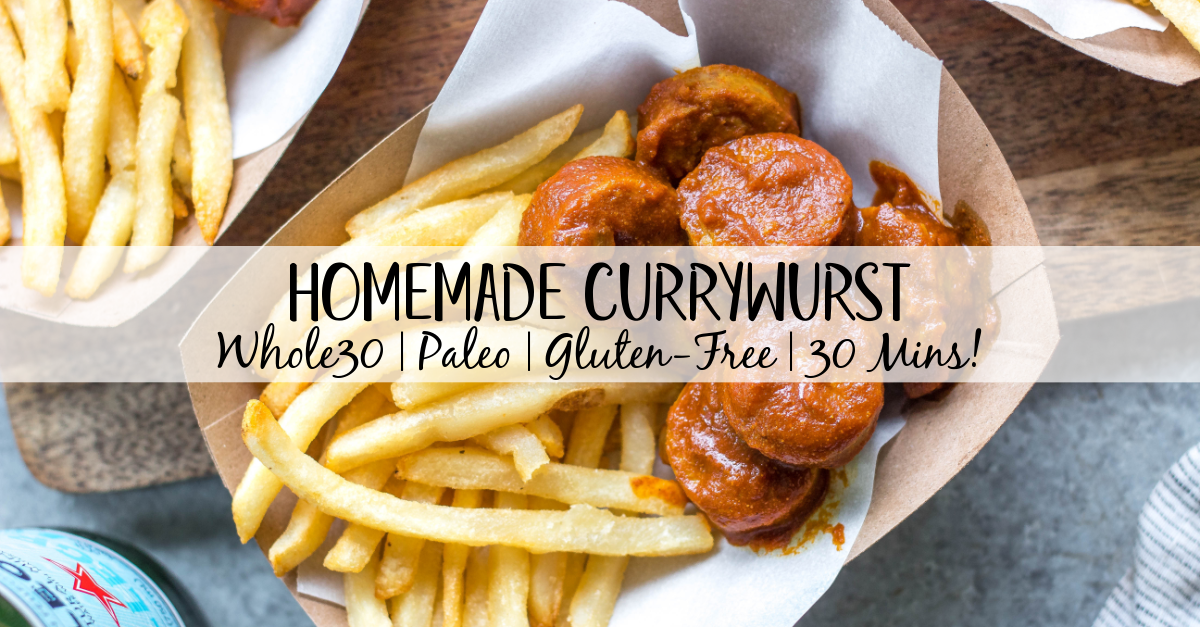 This homemade currywurst is a German street food staple. This version, while much like the traditional one, is sugar-free, Whole30 and paleo! You'll love it because it's such a burst of flavor, comforting, and cooks in under 30 minutes. It also only requires very few ingredients, making it perfect for lunch or an easy weeknight dinner recipe. #whole30germanrecipes #germanfood #whole30pork #paleopork #bratrecipes #lunchrecipes