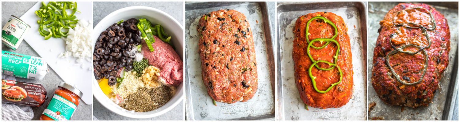 whole30 pizza meatloaf cooking process