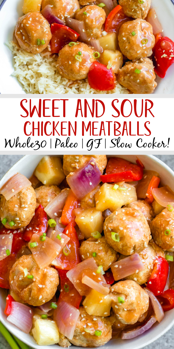 These sweet and sour chicken meatballs are made in the slow cooker, and are paleo, gluten-free and easily made Whole30! It takes less than 20 minutes to prepare, and then the crock pot does the cooking for you. These Whole30 meatballs are perfect for a weeknight dinner, or meal prep for easy, healthy lunches. It's a family friendly recipe that has the flavors you love from your favorite Chinese takeout! #whole30recipes #whole30slowcooker #crockpot #sweetandsour #chickenrecipes