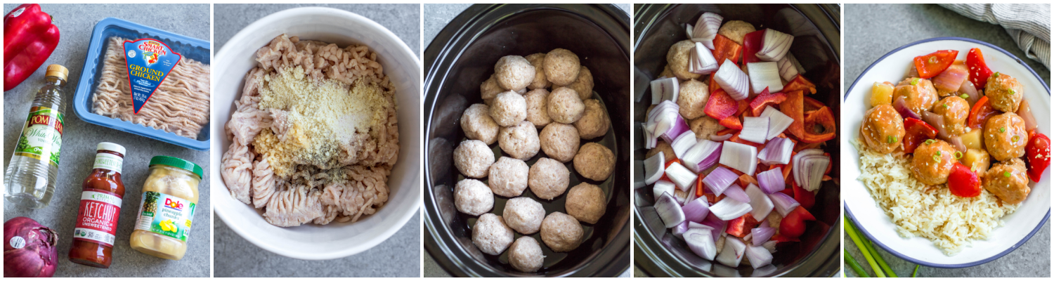 whole30 sweet and sour chicken meatballs cooking process