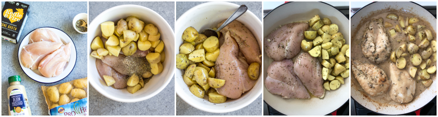 dijon chicken and potato skillet cooking process