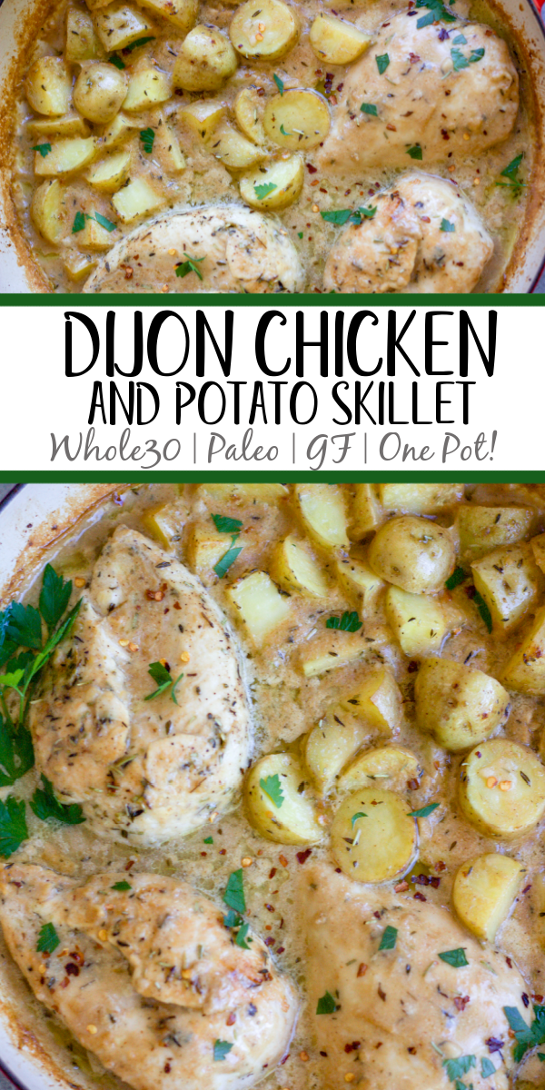 This Whole30 dijon chicken and potato skillet is an easy and healthy one pan meal. It's perfect for a weeknight dinner or meal prep for lunches, and it's also paleo and gluten-free! The chicken breasts and potatoes are sautéed in garlic, and then baked in a creamy dijon sauce, and the result is a simple, flavorful Whole30 dinner recipe everyone will love! #whole30recipes #onepotmeal #whole30chicken #glutenfreechicken #dijonrecipes #oneskillet